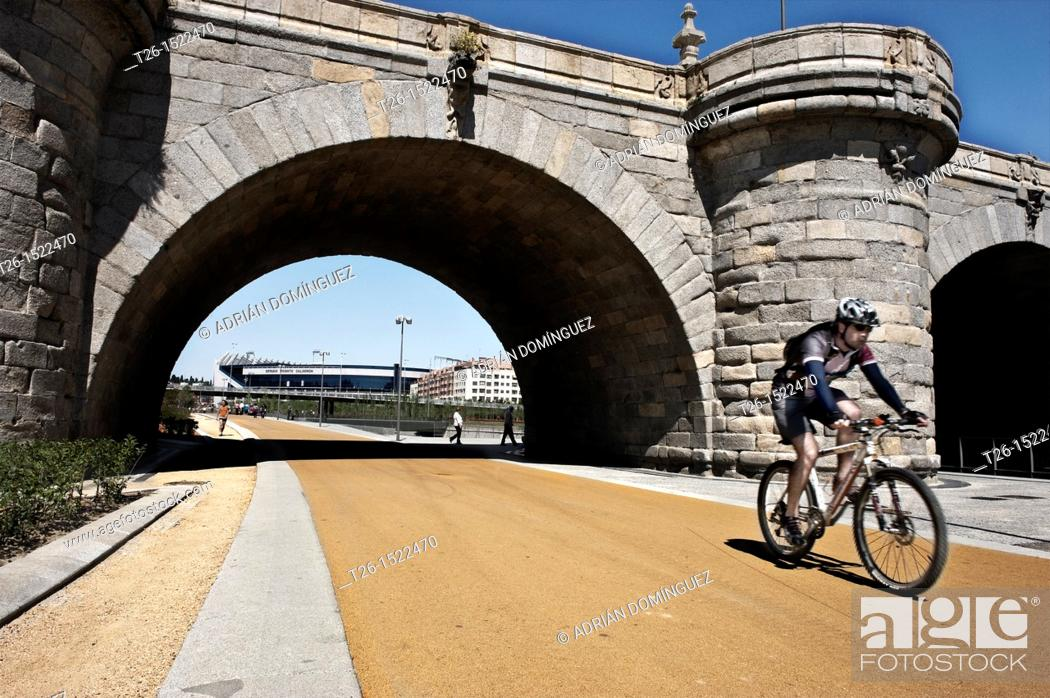 Stock Photo: Bridge of Piramides. Manzanares river project. Madrid, Spain.