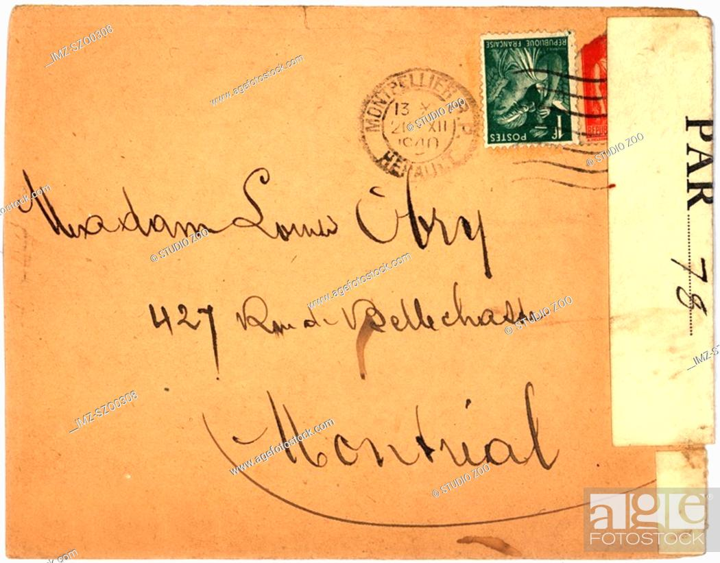 Stock Photo: Vintage envelope with script writing, from Montpellier.