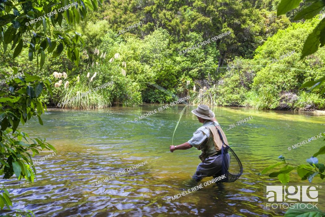 Stock Photo: Tourists fly fishing with fishing guide in Lake Taupo area stream in New Zealand.