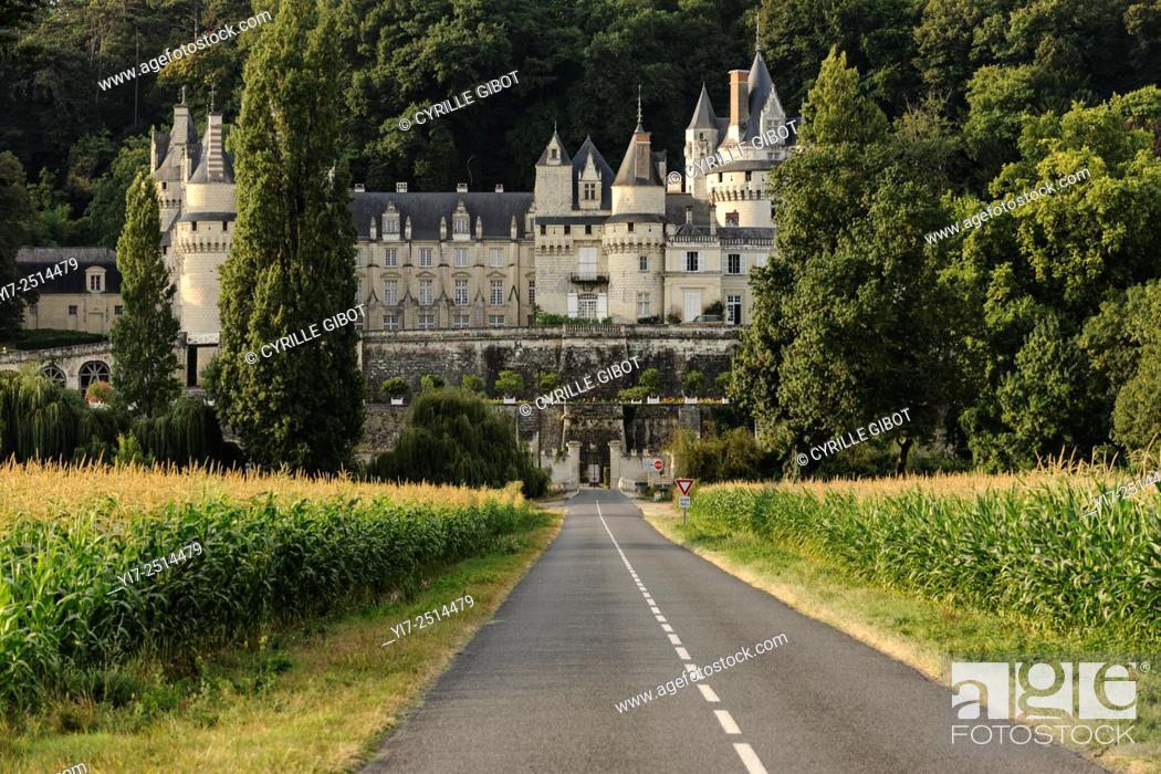 Stock Photo: France, Loire Valley, Usse, Usse Castle, Château d'Ussé. It is said that Charles Perrault took it as inspiration for his tale of Sleeping Beauty.