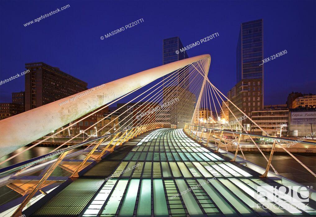 Stock Photo: The Zubizuri footbridge (white bridge), also called the Campo Volantin Bridge, across River Nervion, Bilbao, Spain.