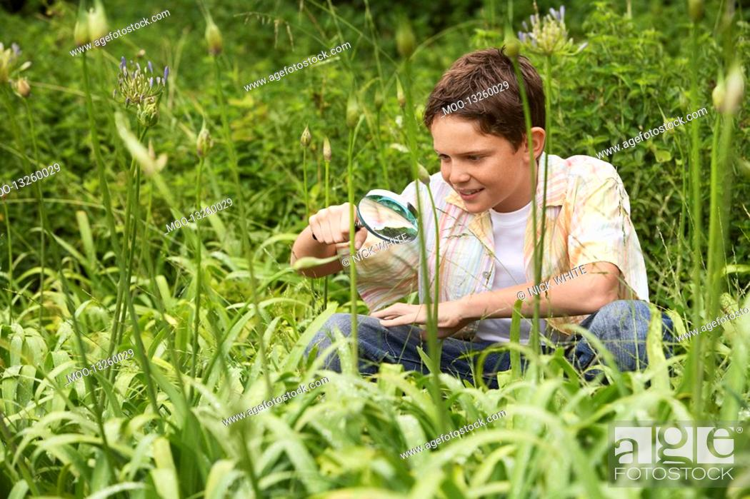 Stock Photo: Boy Looking at Insects with Magnifying Glass.