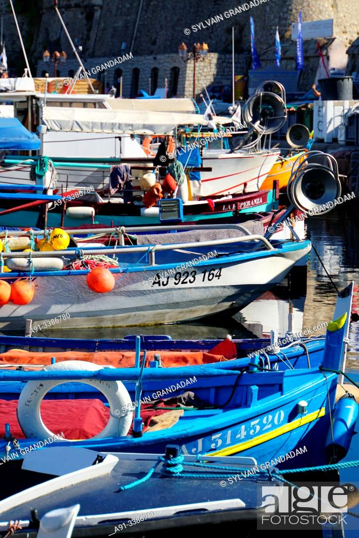 Stock Photo: France, Corsica, Ajaccio, fishing boats in the harbour.