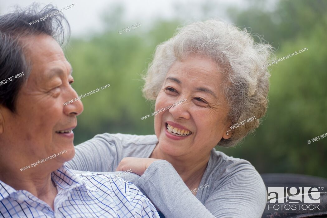 Stock Photo: Elderly couple outdoors.