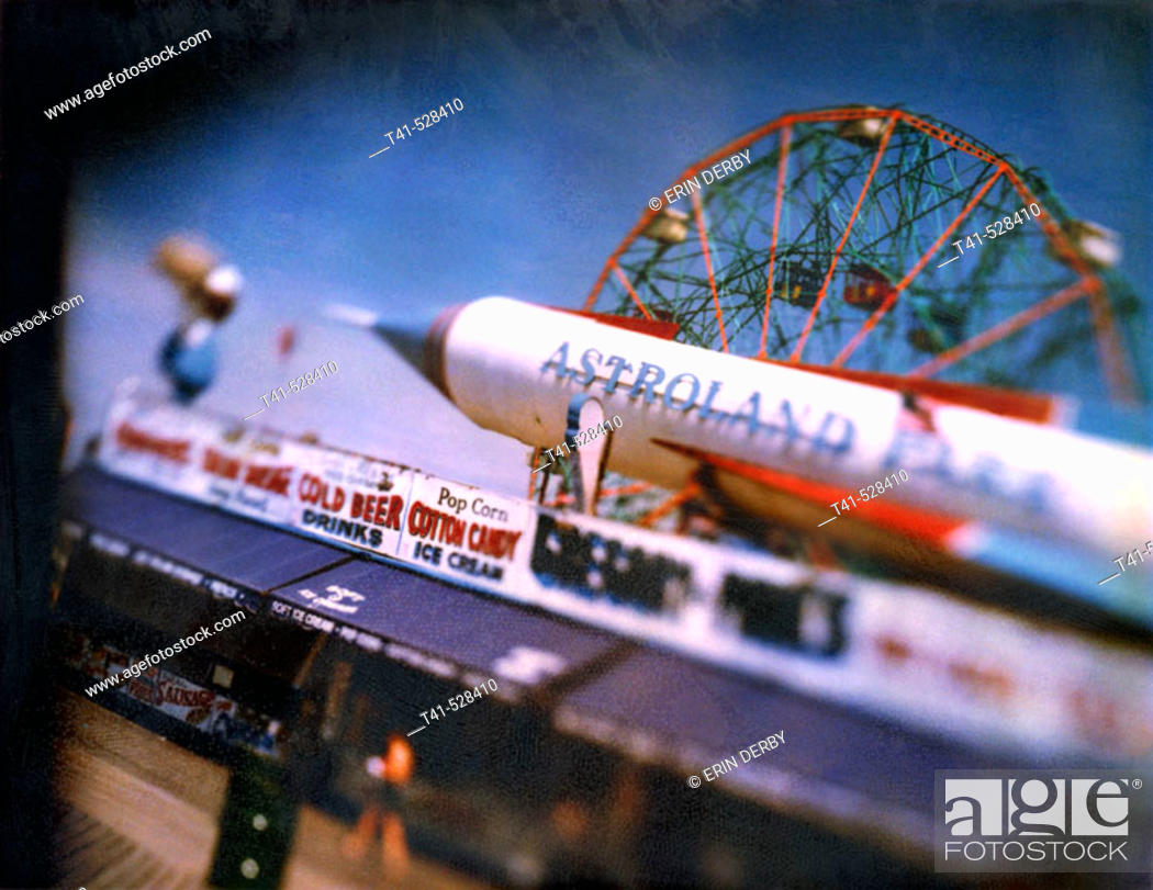 Stock Photo: A polariod of the food vendors and some rides on the Coney Island shoreline in NY, USA.