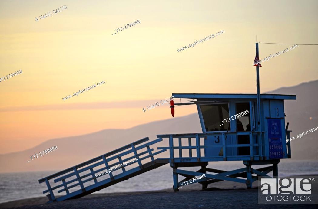 Stock Photo: Lifeguard tower at Zuma beach in Malibu, California.