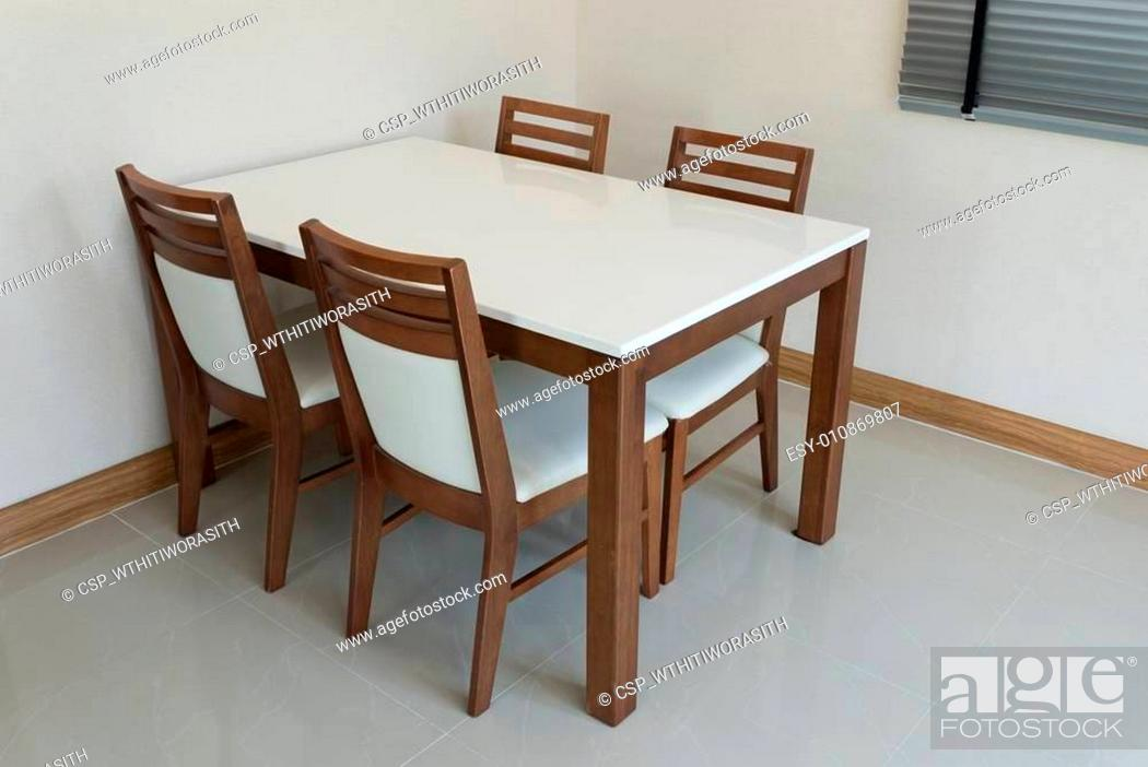Stock Photo: Wooden dining table for 4 people.