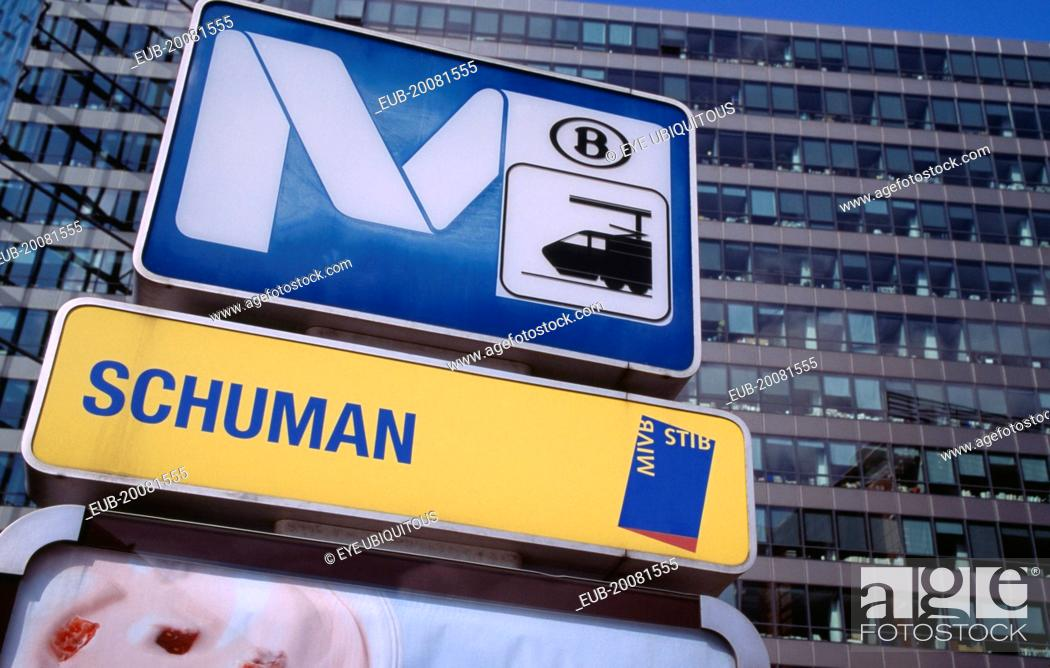Stock Photo: Metro and street sign.
