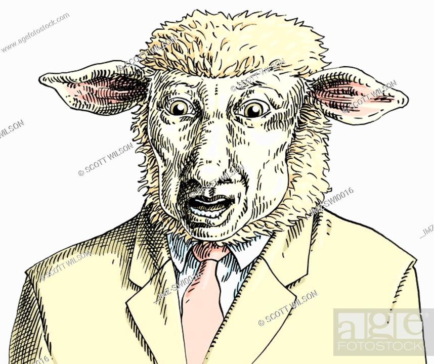 Stock Photo: An illustration of a sheep wearing a cream business suit and pink tie.