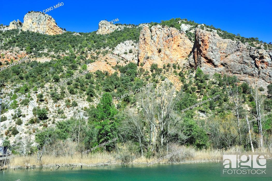 Stock Photo: The reservoir of El Campillo. The Alto Tajo Natural Park. Zaorejas town, Guadalajara province, Spain.