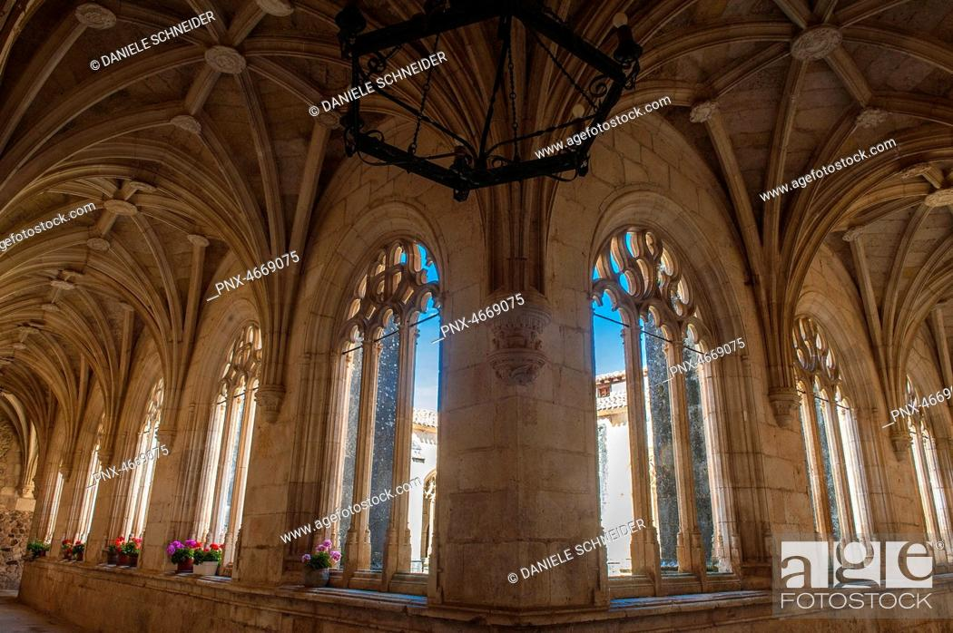 Stock Photo: Spain, Autonomous community of Castile and Leon, province of Burgos, historical village of Covarrubias, cloister of the Colegiate church of Saint Cosme and.