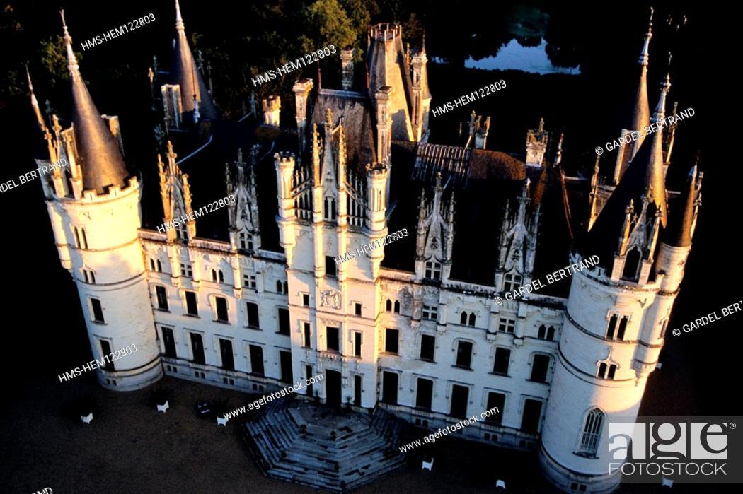Stock Photo: France, Maine et Loire, Challain la Poterie Castle Aerial View.