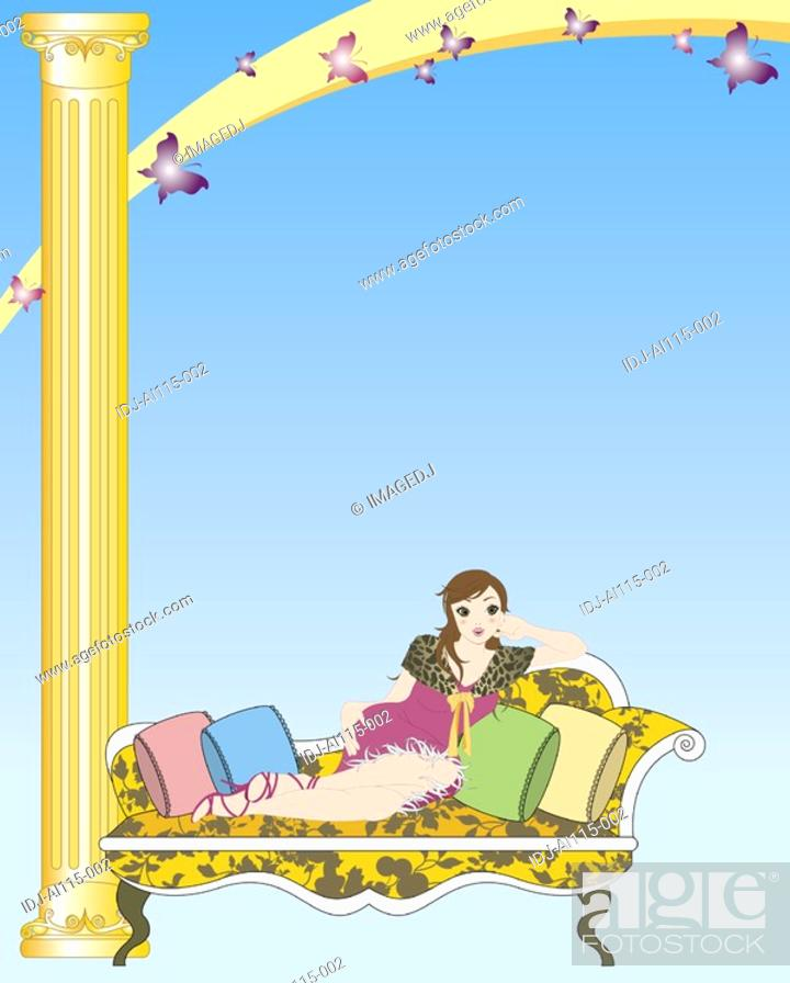 Stock Photo: View of a woman lying on a sofa.