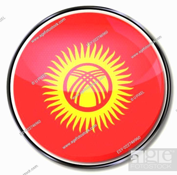 Stock Vector: Button Kirgisistan.