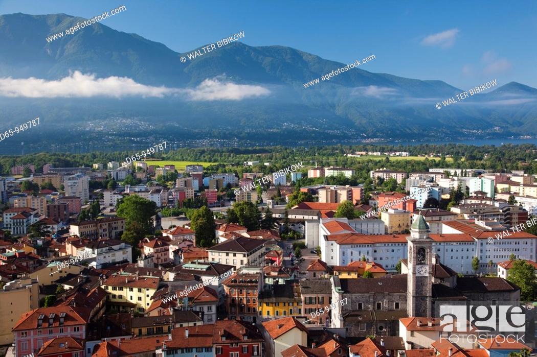 Stock Photo: Switzerland, Ticino, Lake Maggiore, Locarno, high angle town view, morning.