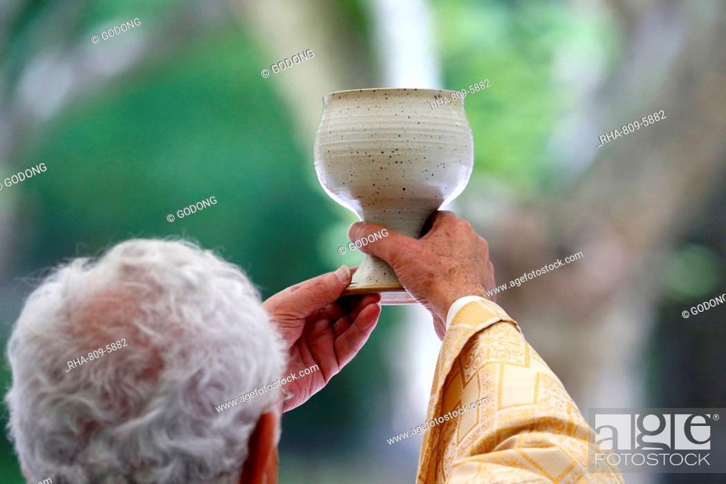 Stock Photo: Eucharist, Catholic Mass, La Roche-sur-Foron, Haute Savoie, France, Europe.