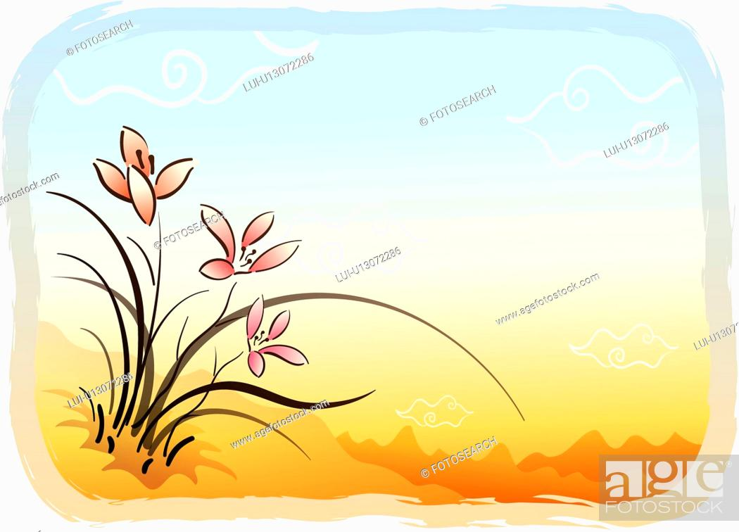 Stock Photo: sky, scene, mountain, flower, orchid, cloud, landscape.