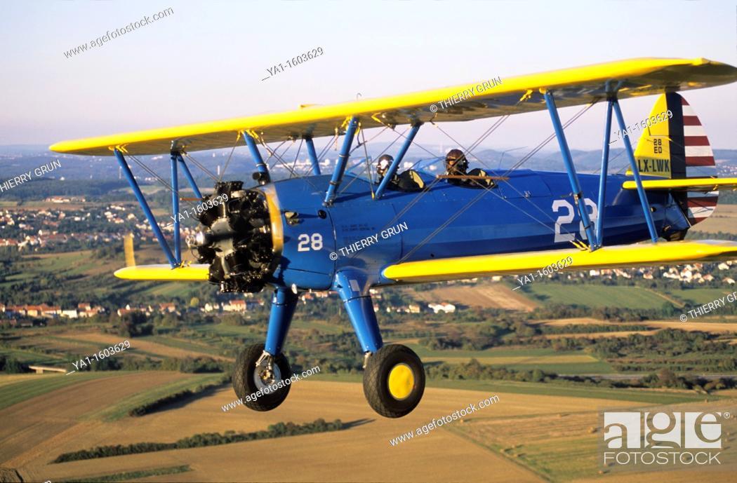 Old american trainer biplane Boeing PT-17 Kaydet / Stearman