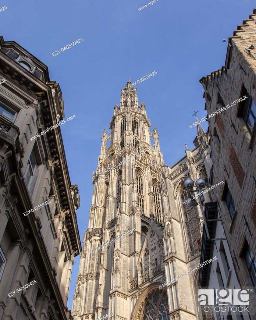 Stock Photo: Cathedral of Our Lady in Antwerp, Belgium (Onze-Lieve-Vrouwekathedraal).