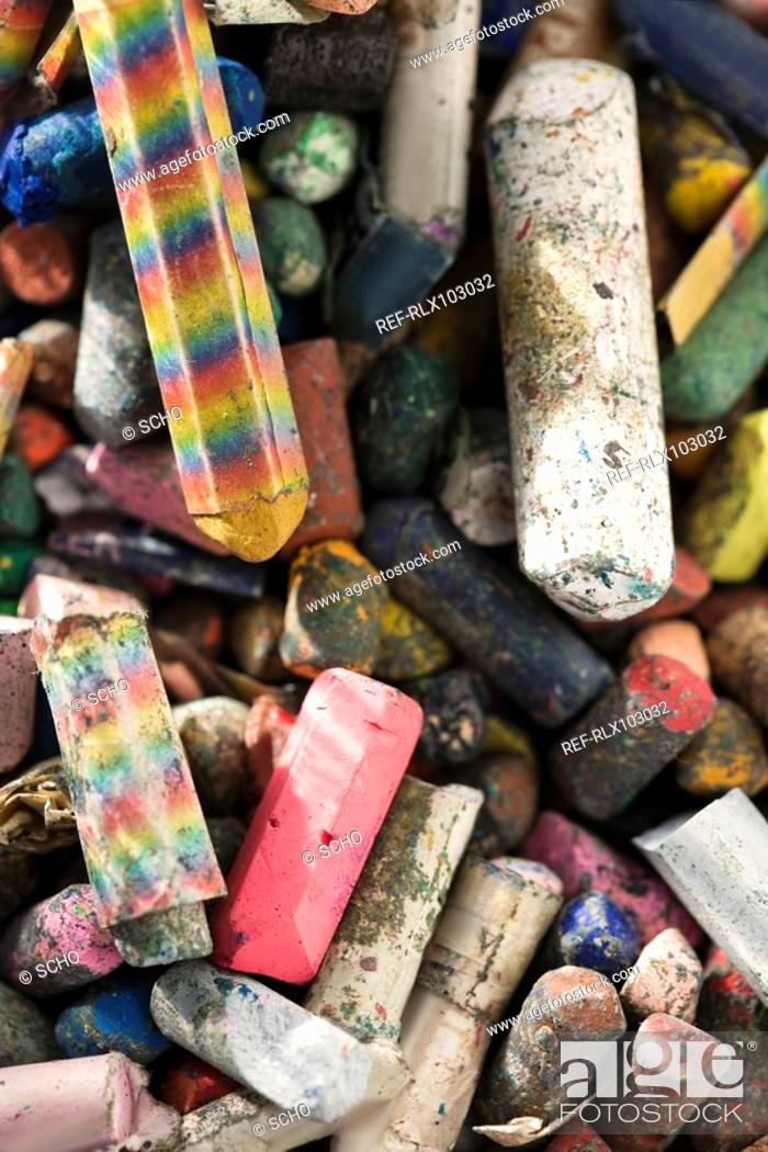 Stock Photo: Childs crayon box full with used crayons. close-up.