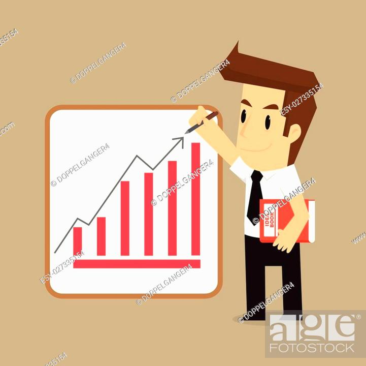 Stock Vector: businessman wrote the arrow higher levels, earning more. vector.