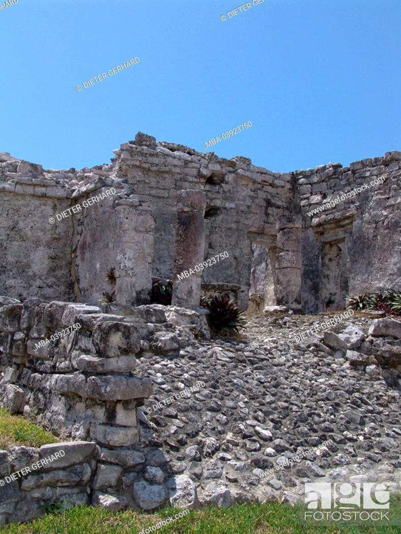 Stock Photo: Mexico, Yucatan, Tulum, temple-installation, ruins, maya-culture, Central America, ruin-place, maya-culture, Maya, Maya-site, constructions, architecture.