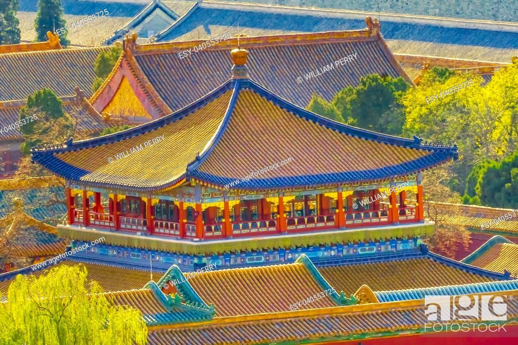 Photo de stock: Blue Pavilion Green Trees Forbidden City Beijing China. .