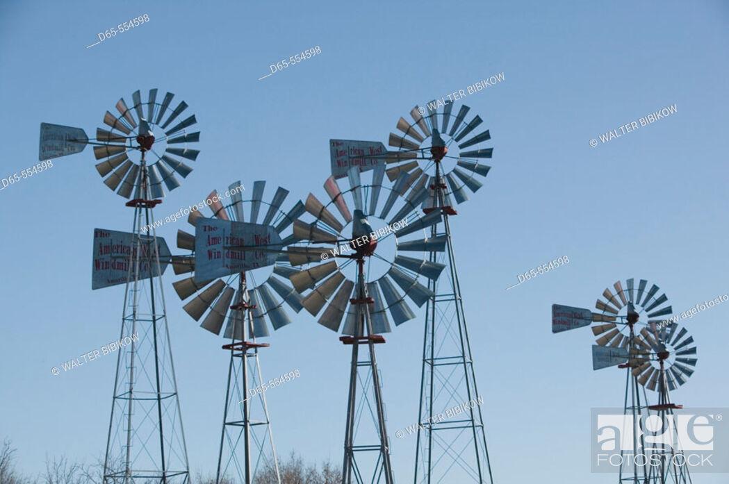 Stock Photo: Historic Windmills. American Wind Power Center. Lubbock. Texas, USA.