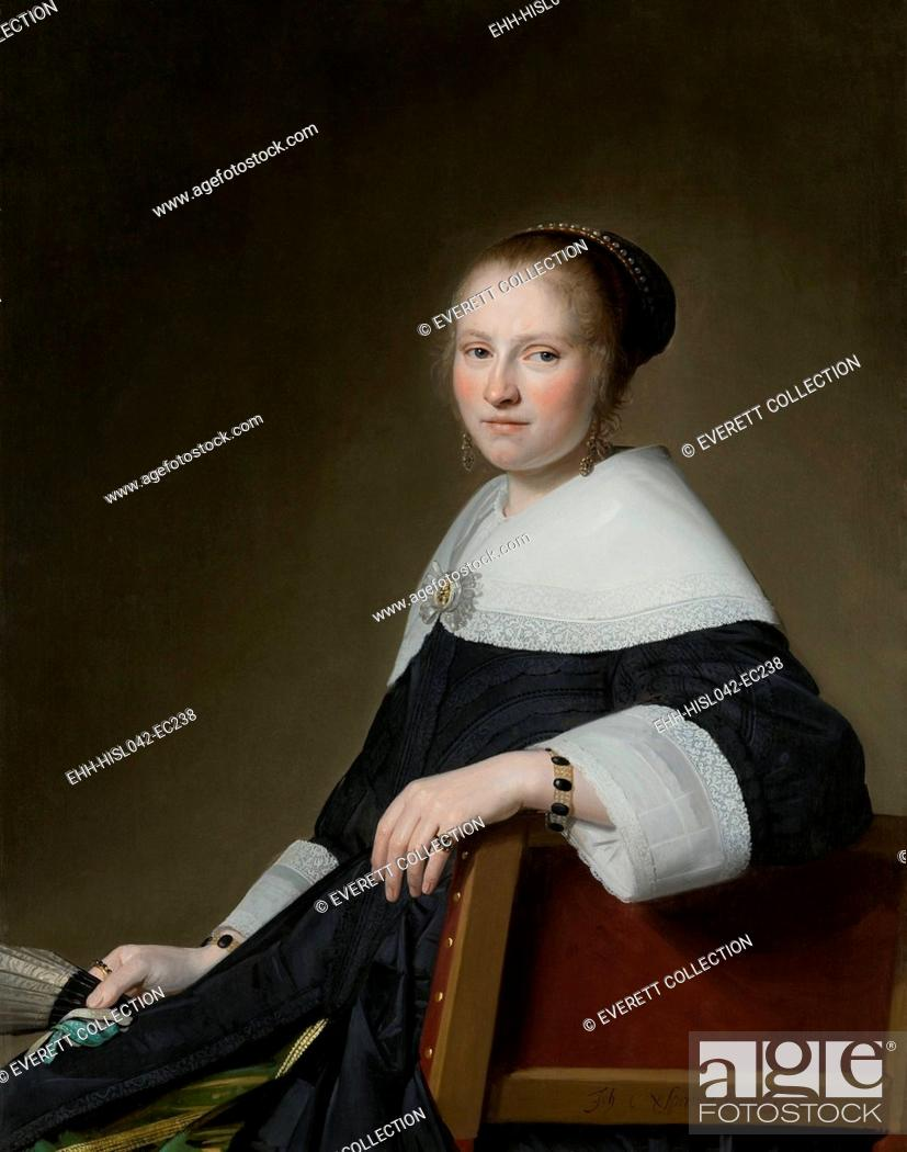Stock Photo: Portrait of Maria van Strijp, by Johannes Verspronck, 1652, Dutch painting, oil on panel. The sitter sits sideways on a chair with its back to the viewer.