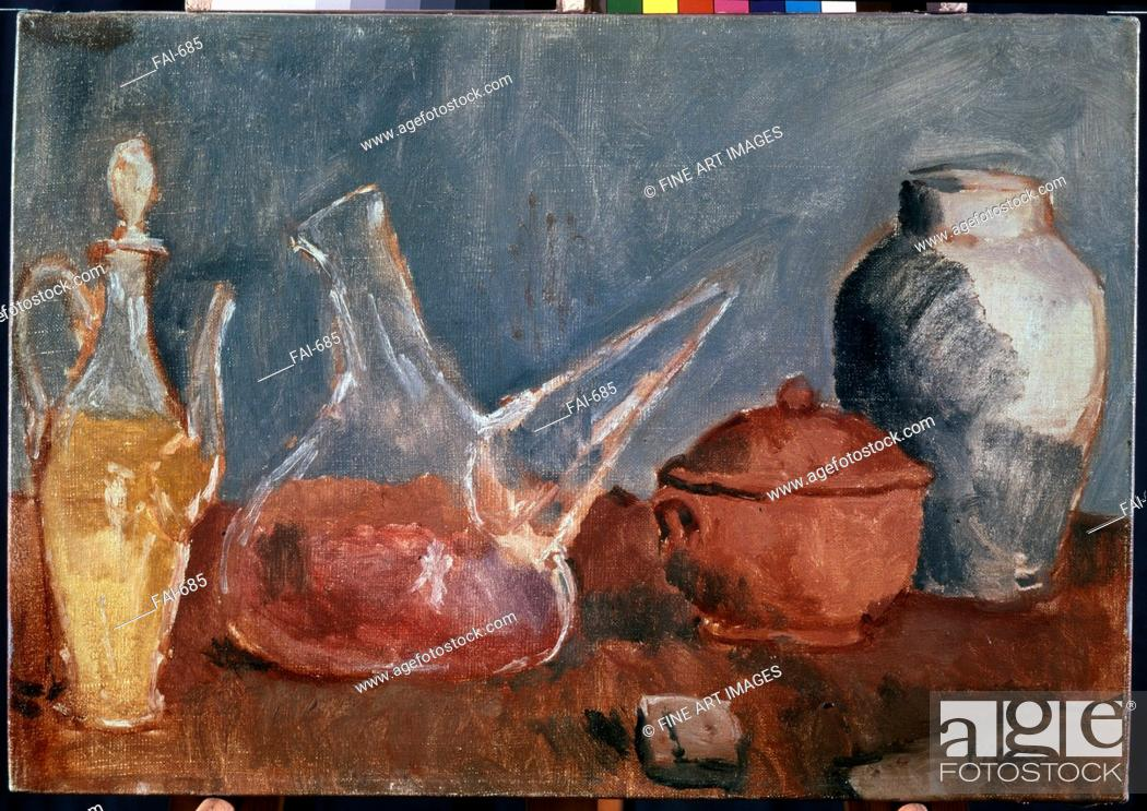 Stock Photo: Glass Vessels. Picasso, Pablo (1881-1973). Oil on canvas. Modern. 1906. State Hermitage, St. Petersburg. 38,5x55,5. Painting. © VG-Bild-Kunst Bonn.