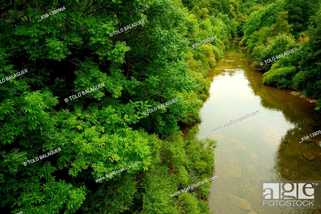 Stock Photo: Irati river, Orbara, Grand tour 11, Navarra Pyrenees Mountains Spain.