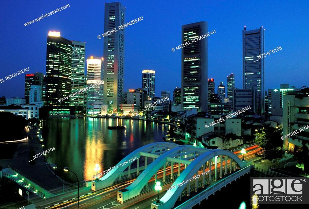 Stock Photo: Skyscraper along the river, Singapore.