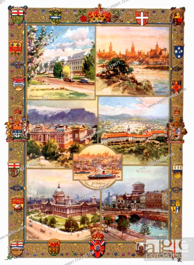 Stock Photo: Capitals of the British Empire, 1937. Chief cities and seats of government in Australia, Canada, South Africa, Newfoundland, Northern Ireland.