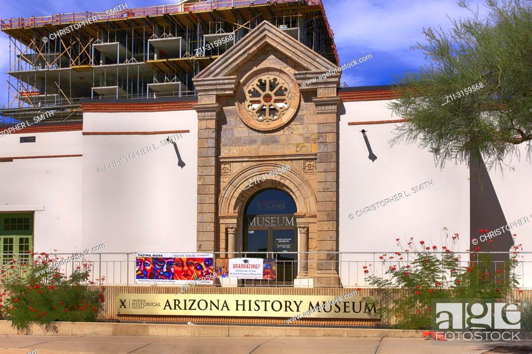 Stock Photo: Outside the Arizona History Museum building on E 2nd Street in downtown Tucson AZ.