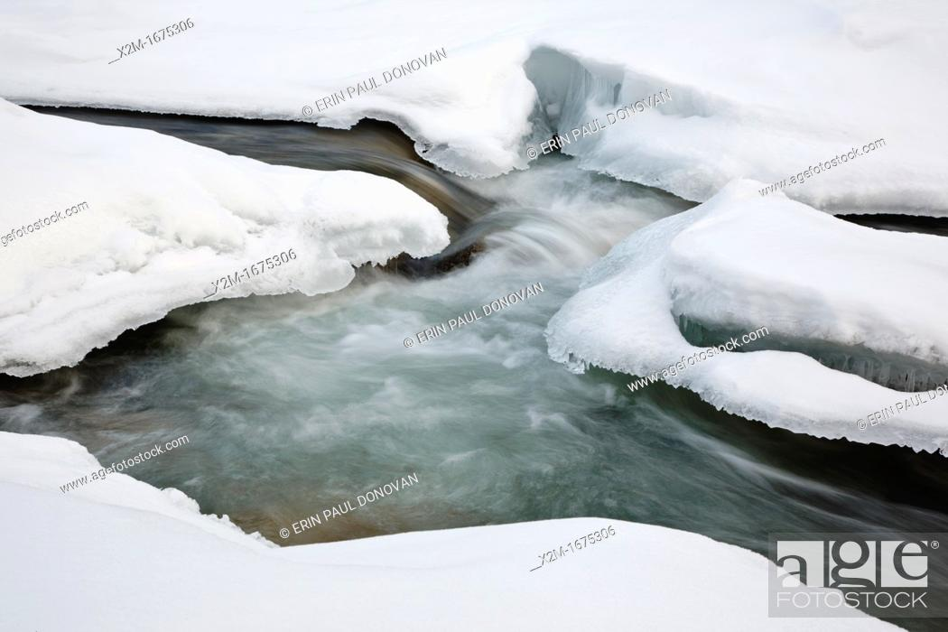 Stock Photo: East Branch of the Pemigewasset River in Lincoln, New Hampshire USA during the winter months.
