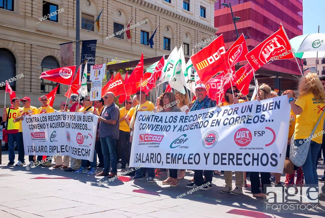 Demonstration Post Office workers, against cuts of Spanish