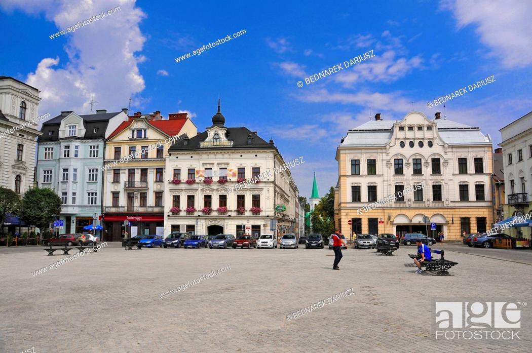 Stock Photo: Townhouses on the market square in Cieszyn, Silesian Voivodeship, Poland.