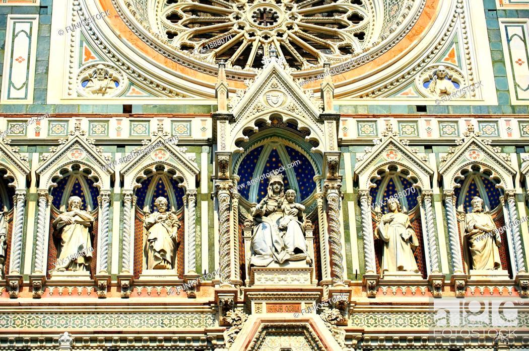 Stock Photo: Facade of Florence Cathedral  Duomo Italy.