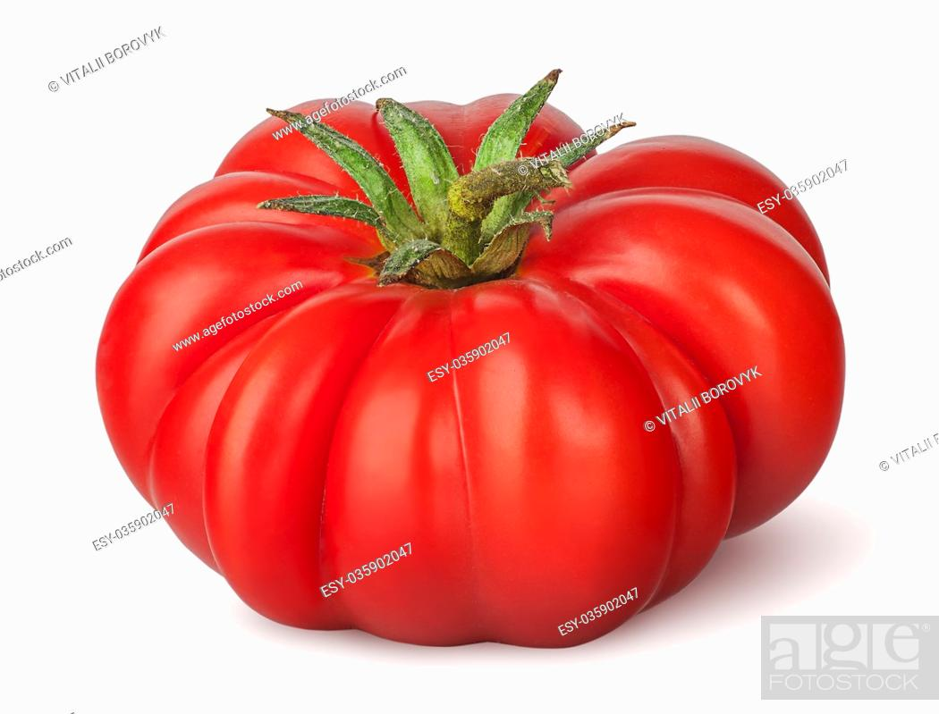 Photo de stock: Fresh heirloom tomato isolated on white background.