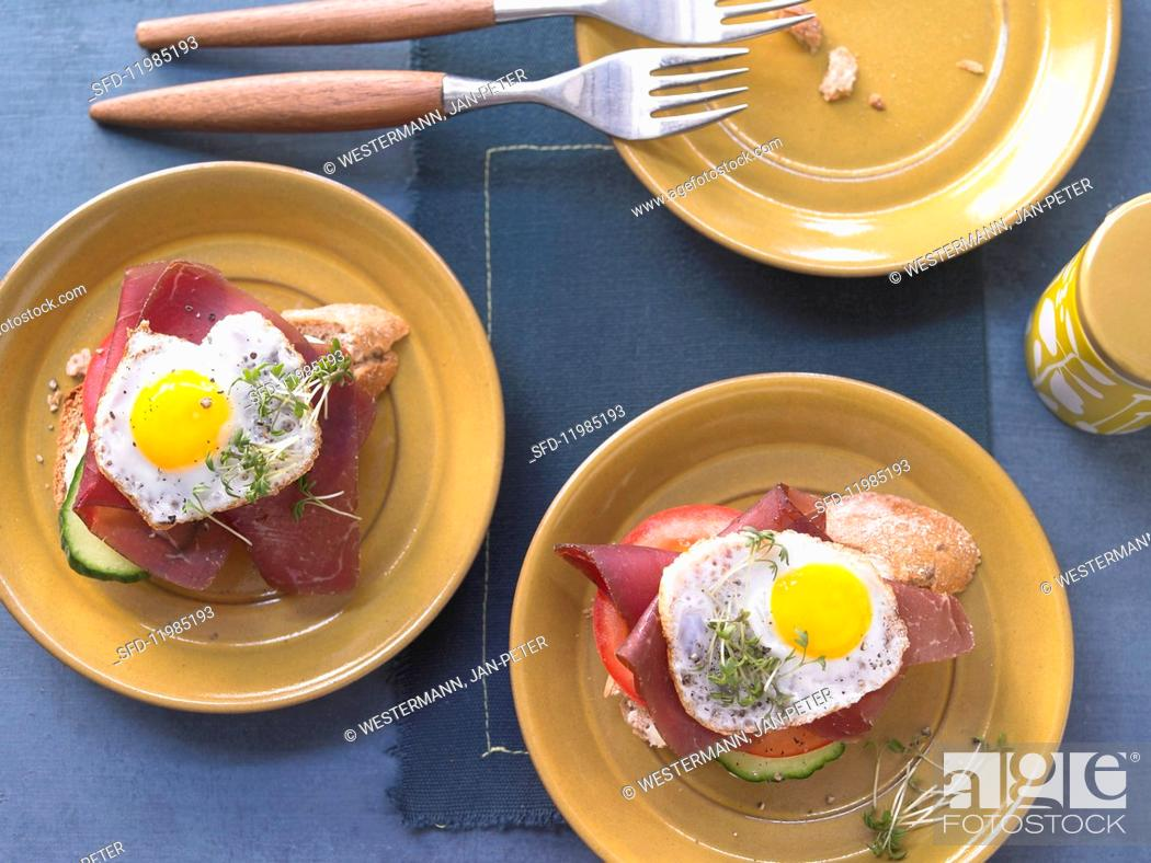 Stock Photo: Strammer Max: bread topped with a fried egg, Grisons air-dried beef and cress.