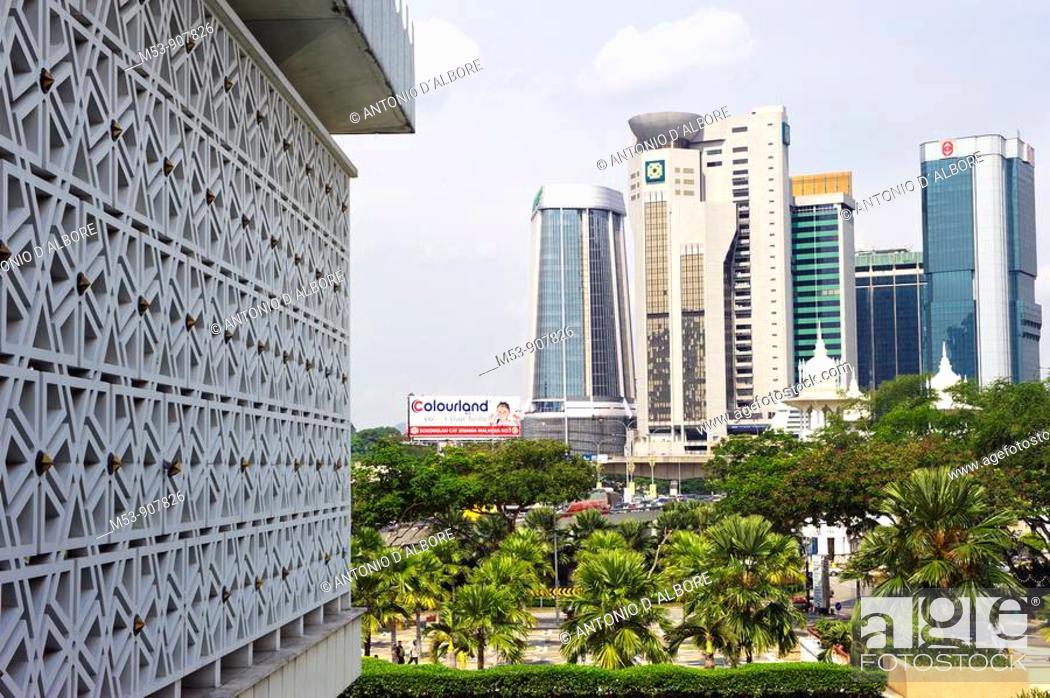 Stock Photo: cityscape with the kuala lumpur business district  kuala lumpur  malaysia  asia.