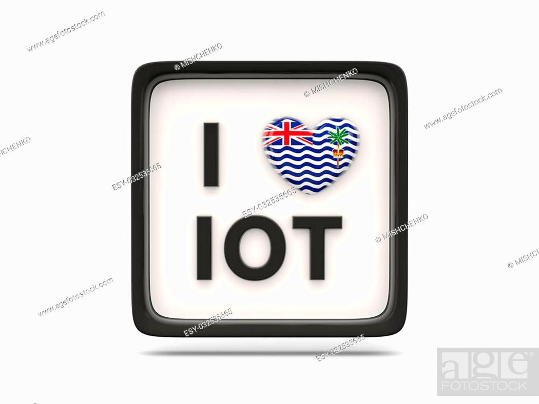 Stock Photo: I love british indian ocean territory sign isolated on white.