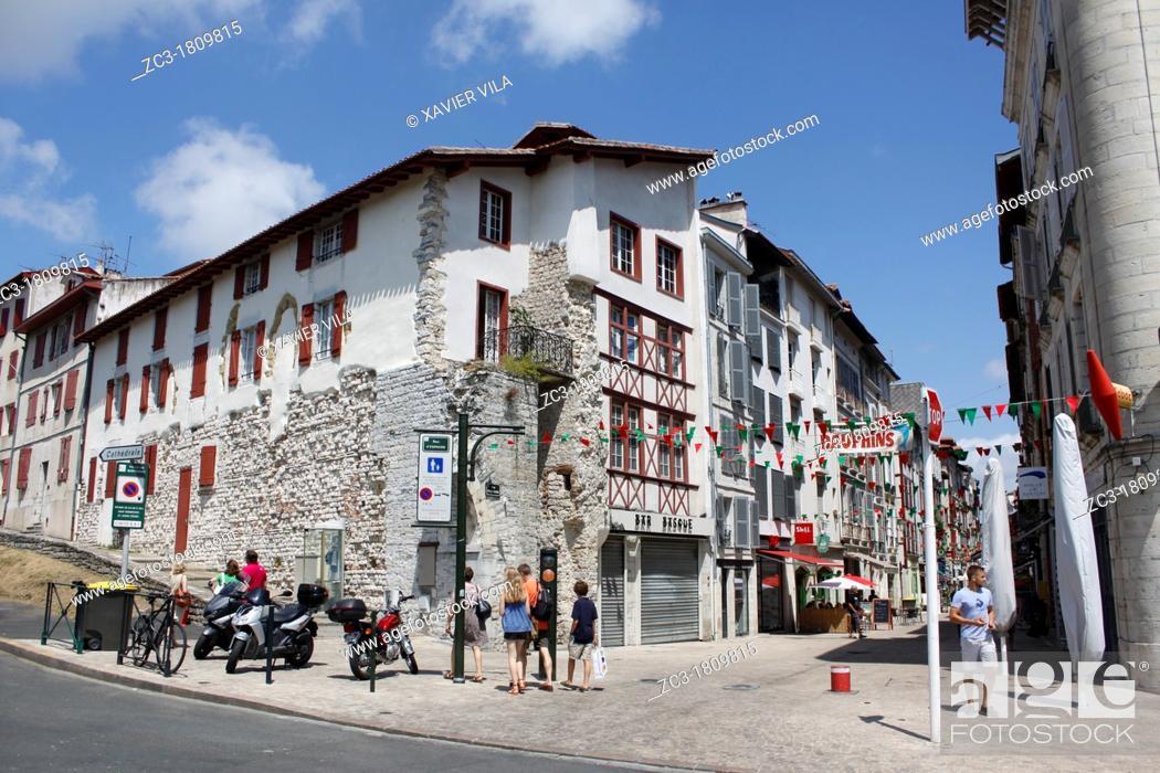 Stock Photo: Building in the city, Bayonne, Aquitaine, Pyrénées-Atlantiques, France.