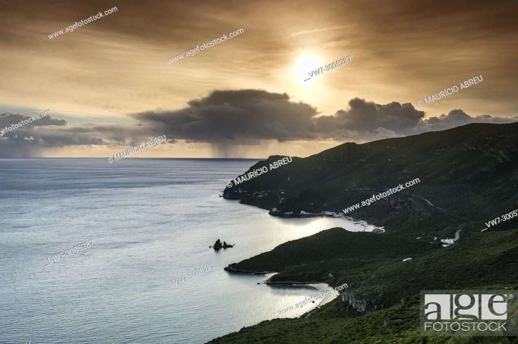 Stock Photo: Arrábida Nature Park and the Atlantic Ocean at sunset. Setúbal, Portugal.