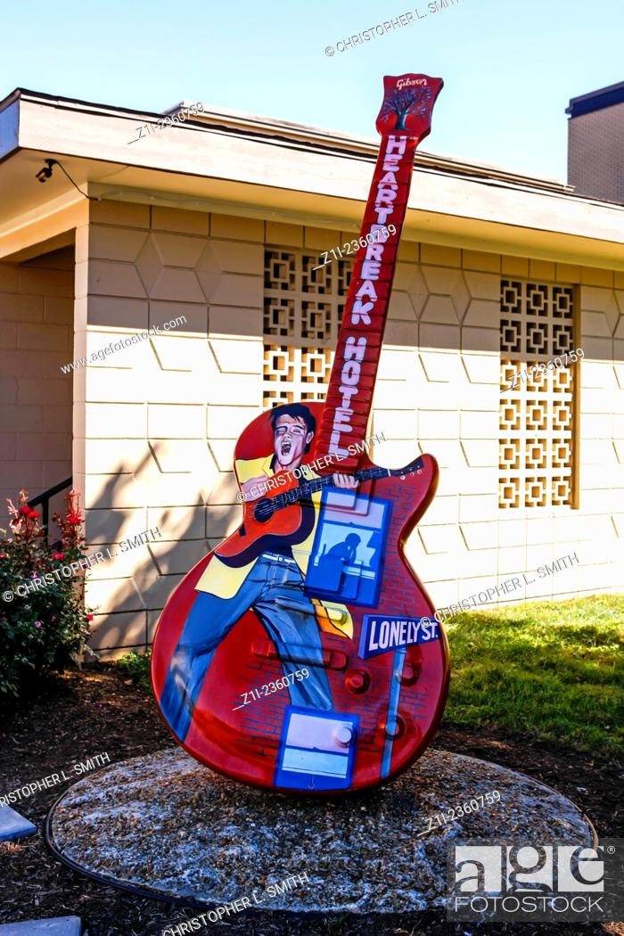 Stock Photo Guitar Shaped Sculptures Outside The Rca Studio B Building On Music Row In Nashville Tn
