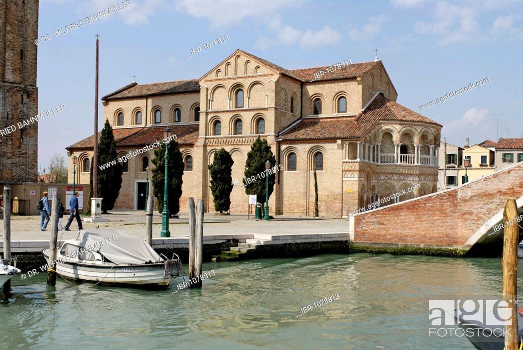 Stock Photo: San Maria e Donato Church on the Canale di San Donato, Murano island, near Venice, Venezia, Italy, Europe.