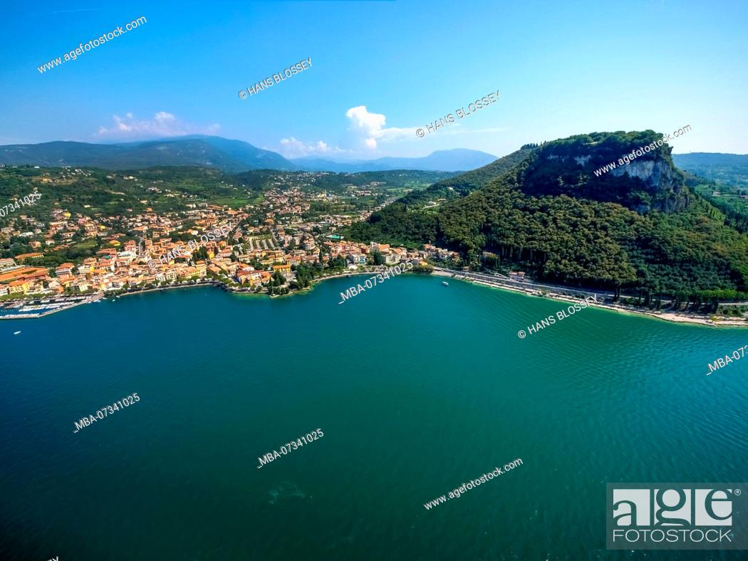 Stock Photo: Aerial view, Rocca di Garda, Lago di Garda, Lake Garda, Garda, Northern Italy, Veneto, Italy.