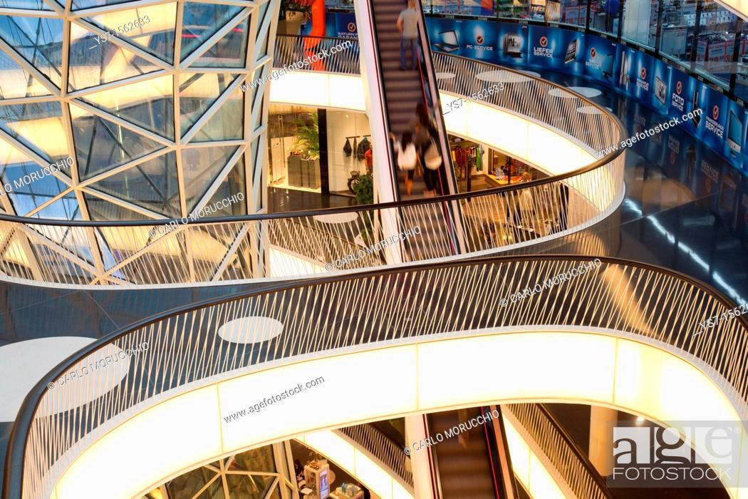 Stock Photo: Interior and escalator of MyZeil shopping mall by Massimiliano Fuksas in Frankfurt am Main, Germany, Europe.