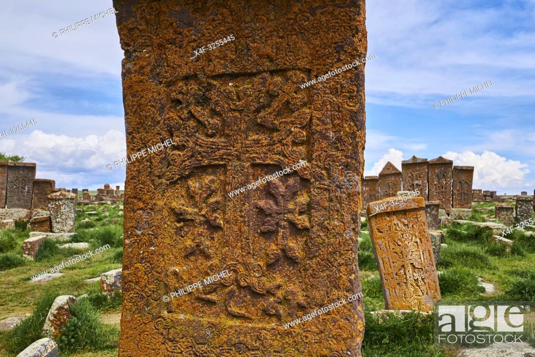 Stock Photo: Armenie, region de Gegharkunik, lac Sevan, cimetière de Noradouz / Armenia, Gegharkunik province, Sevan Lake, Noradouz cimetery.