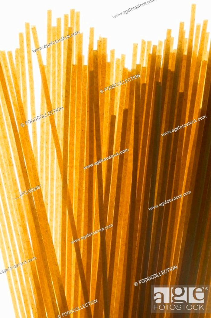 Stock Photo: Wholemeal linguine close-up.